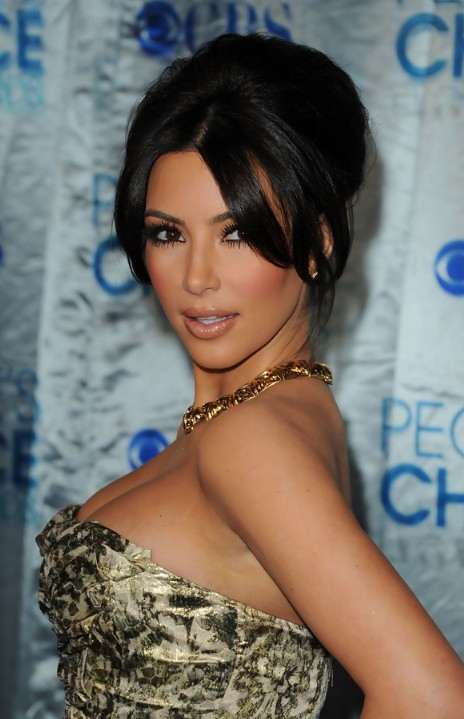 Sexy Black French Twist with Long Bangs from Kim Kardashian
