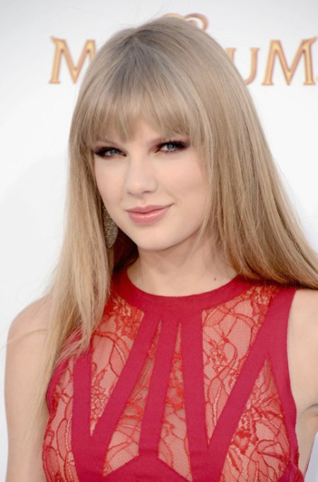Taylor Swift Long Sleek Hair Style With Blunt Bangs