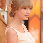 Taylor Swift Romantic Loose Updo Hairstyle with Blunt Bangs
