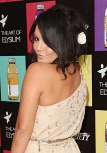 Vanessa Hudgens Cute Black Loose Messy Updo