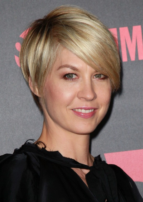Sexy short blonde haircut with bangs for women
