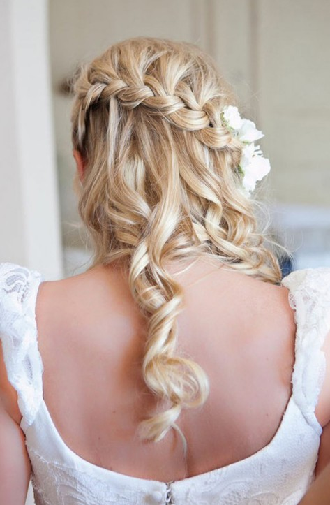 Beautiful Waterfall Braid Hairstyles for Wedding Back View