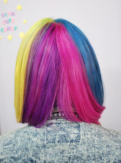 Back View of Short Rainbow Hairstyle