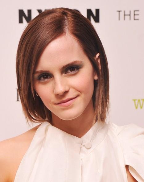 Emma Watson Cute Short Straight Hair Style 2013