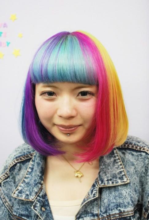 Short Rainbow Bob Hairstyle 2013
