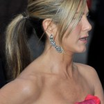 Jennifer Aniston Ponytail Hairstyles with Side Swept Bangs