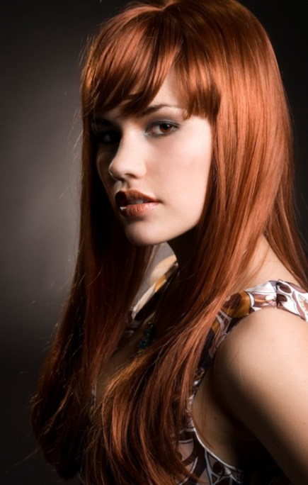 Long Angled Red Hair with Bangs