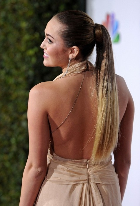 Miley Cyrus Long Sleek Ponytail Hairstyles