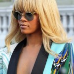 Rihanna Long Ombre Hairstyle with Full Straight Bangs