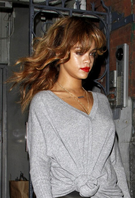 Rihanna Long Wavy Hairstyles with Bangs