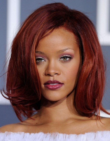 Rihanna Medium Red Bob Hairstyles with Volumes