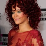 Rihanna Red Curly Hairstyles with Layers
