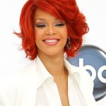 Rihanna Bob Hairstyles: Short Red Curly Bob Cut with Layers for Women