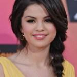 Selena Gomez Bradied Long Hairstyles with Bangs