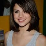 Selena Gomez Short Haircuts: Chic Sleek Short Bob Hairstyle with Bangs