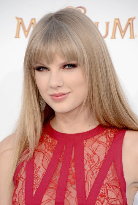 Taylor Swift Long Sleek Hairstyle With Blunt Bangs