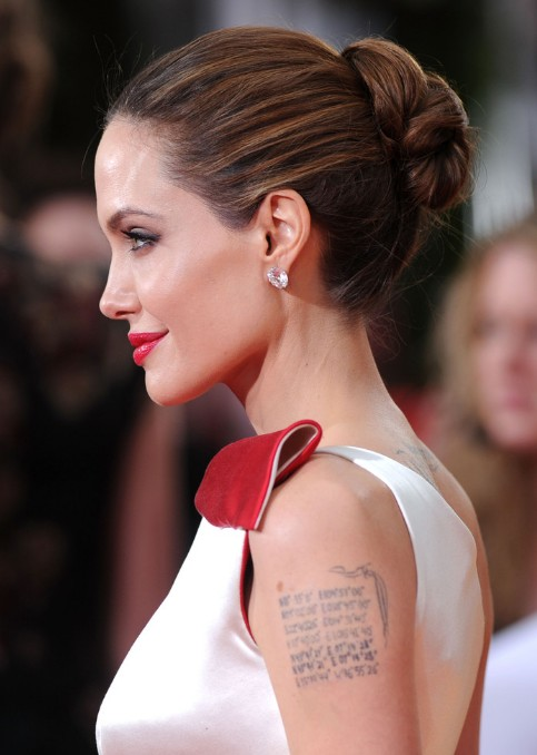 Angelina Jolie Updos Side View Of Twisted Bun Updo