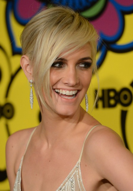 Ashlee Simpson Short Blonde Hairstyle With Long Bangs