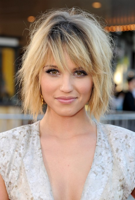 Dianna Agron Layered Short Bob Hairstyle with Bangs