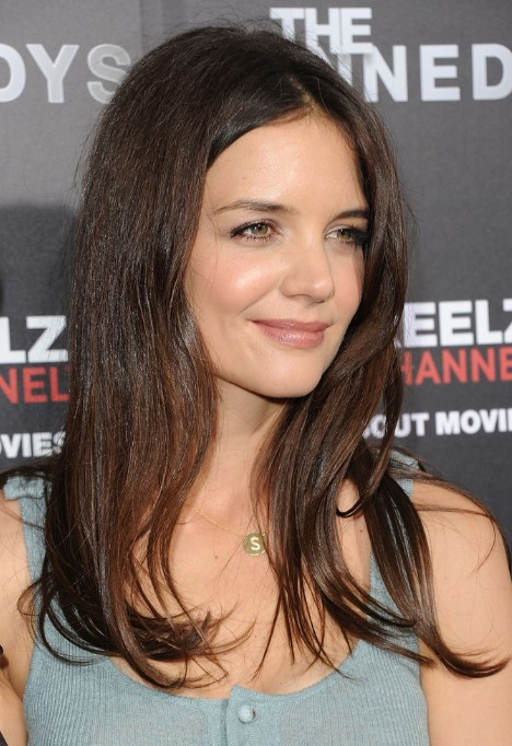 Katie Holmes Simple Easy Long Straight Hairstyle
