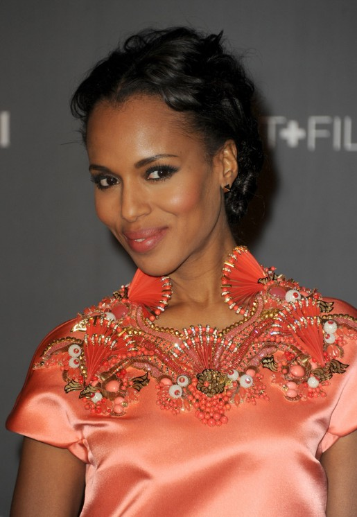 Kerry Washington Short Curly Updo Hairstyle