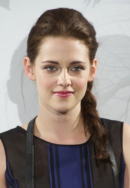 Kristen Stewart Cute Long Side Braided Hairstyle