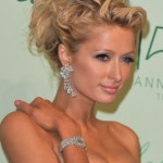 Paris Hilton Romantic Messy Curly Updo for Wedding