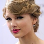 Taylor Swift Flipped Updo with Bangs