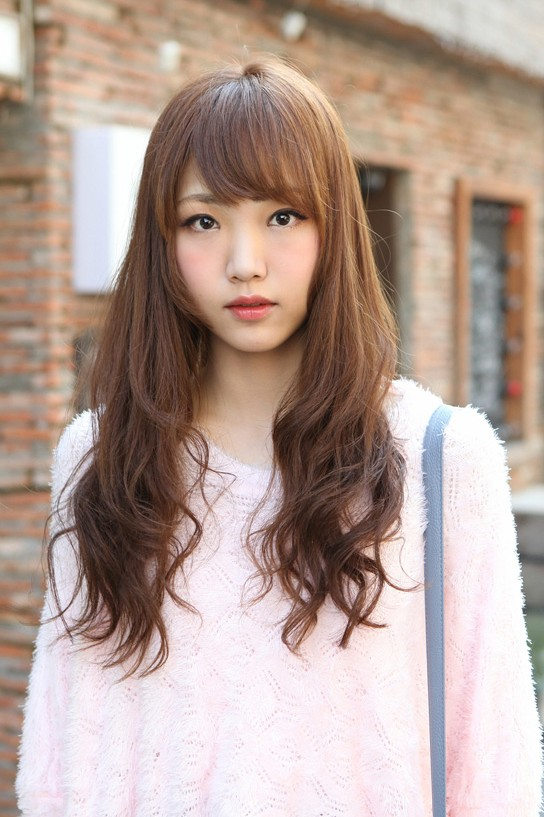 cute korean hairstyle for girls long brown hair with