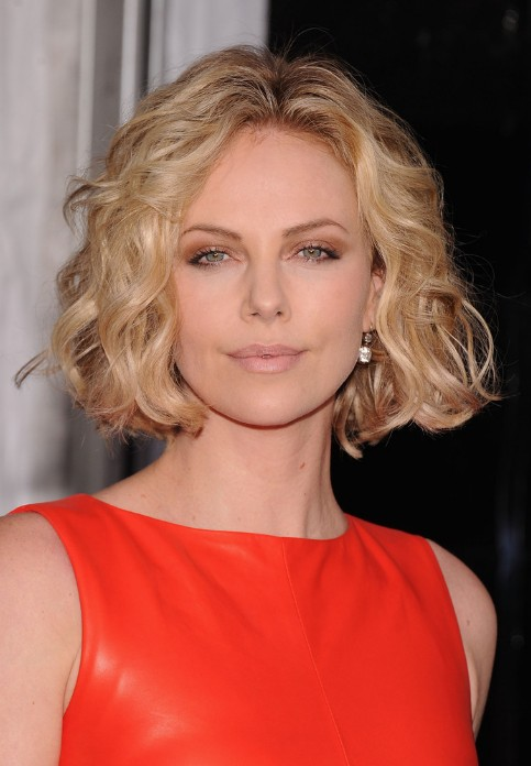 Charlize Theron Short Blonde Curly Bob Hairstyle