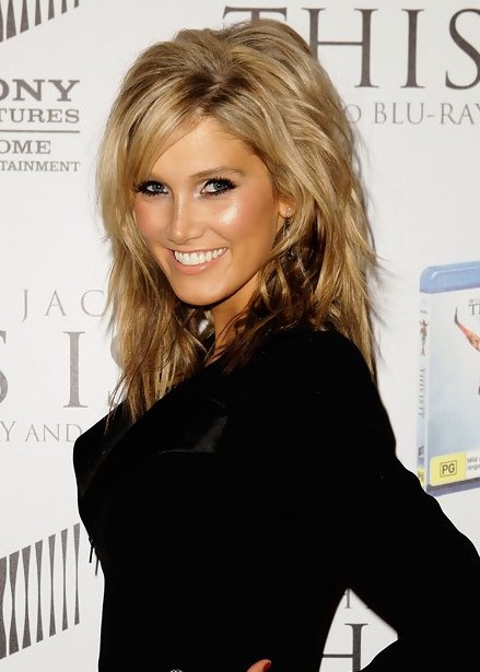 Delta Goodrem Layered Medium Hairstyle with Bangs