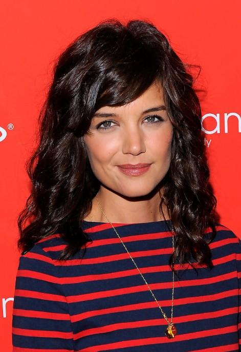 Katie Holmes Medium Dark Brown Curly Hairstyle with Side Swept Bangs