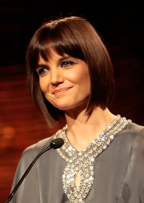 Katie Holmes Short Bob Hairstyle with Bangs