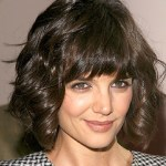 Katie Holmes Short Curly Bob Hairstyle with Bangs