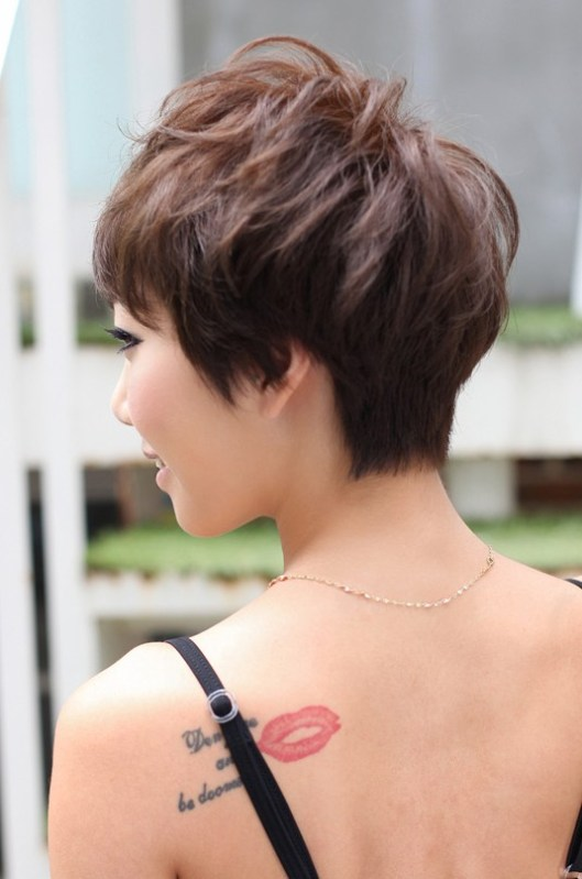 Back View of Layered Short Pixie Haircut