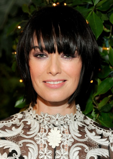 Lena Headey Hairstyle Choppy Layered Short Black Bob