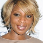 Mary J. Blige Layered Short Bob Hairstyle with Bangs