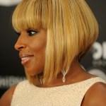 Mary J. Blige Short Sleek Inverted Bob Hairstyle