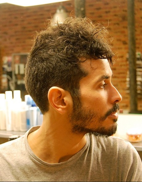 Side View of Short Curly Buzz Cut for Men