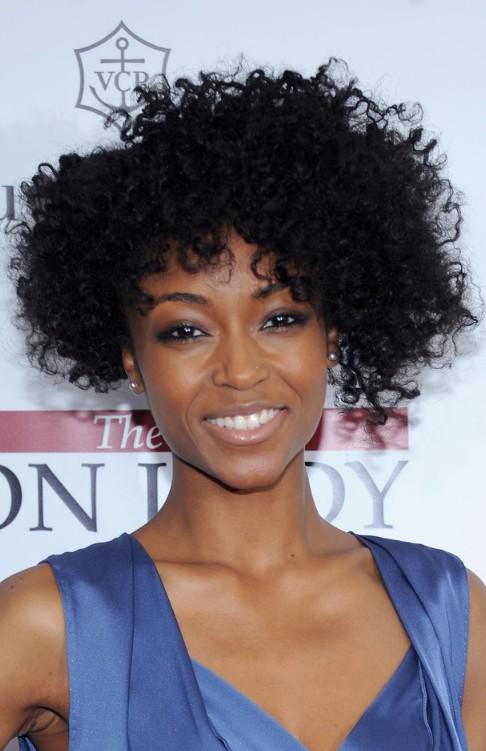 Yaya DaCosta Short African American Curly Hairstyle
