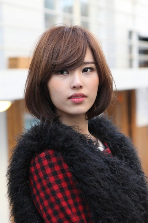 Cute Asian Bob with Side Swept Bangs: Simple Easy Hairstyles 2013
