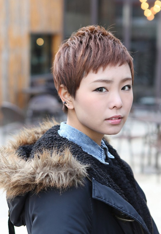 Cute Short Layered Boyish Hairstyle Asian Brown Short