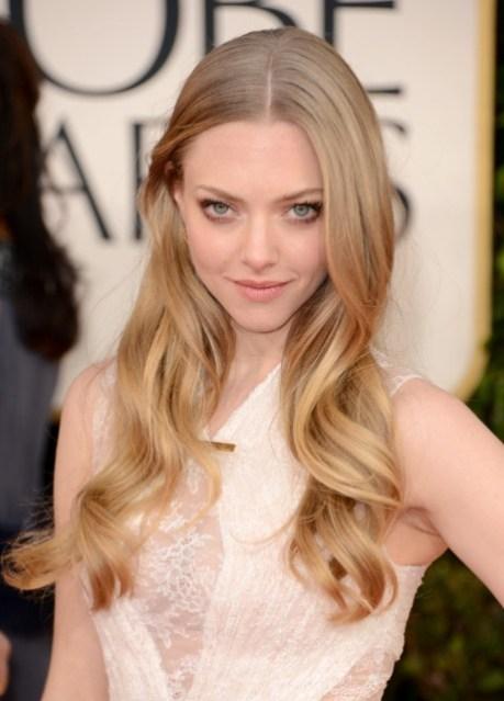 Golden Globe Awards 2013 Amanda Seyfried Center Parted Hairstyle