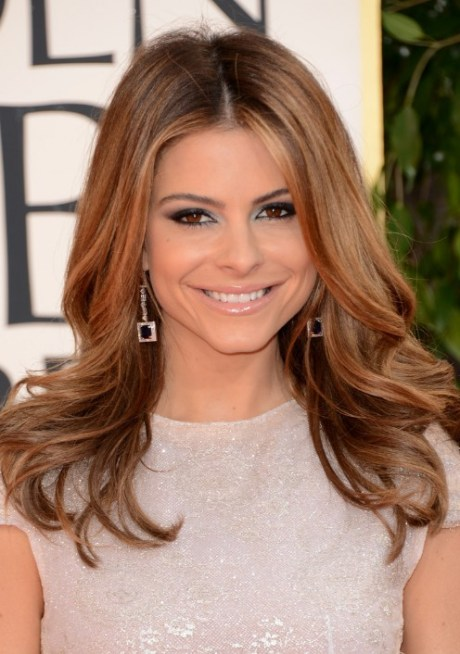 2013 Golden Globe Awards Hairstyles: Maria Menounos Center Parted Hairstyle