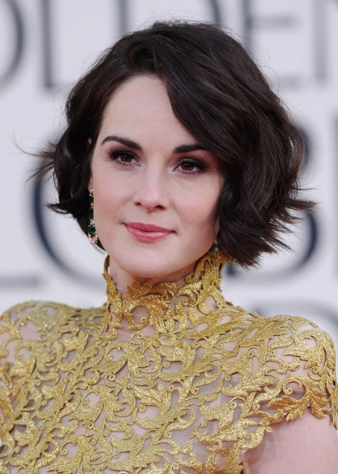 2013 Golden Globe Awards Hairstyles: Michelle Dockery Short Wavy Bob Hair