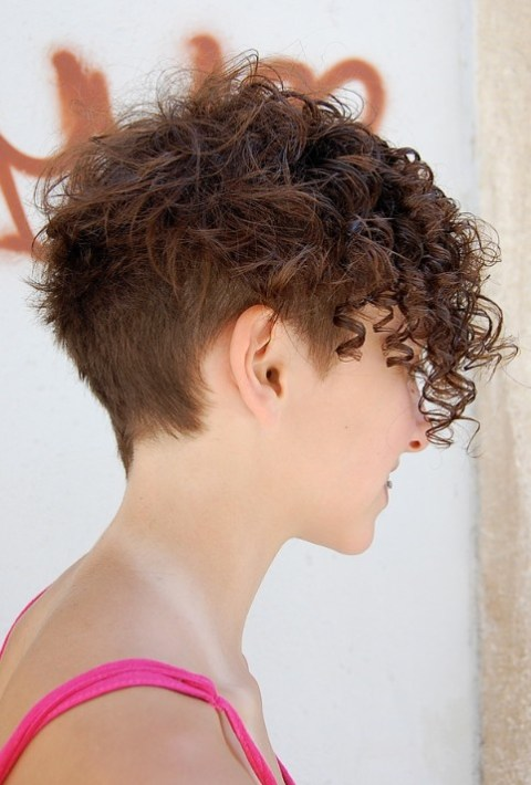 Side View of Chic Multi-Textured Short Curly Hairstyle
