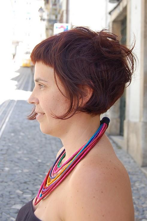 Side View of Swirly Curvy Fringed Bob Haircut