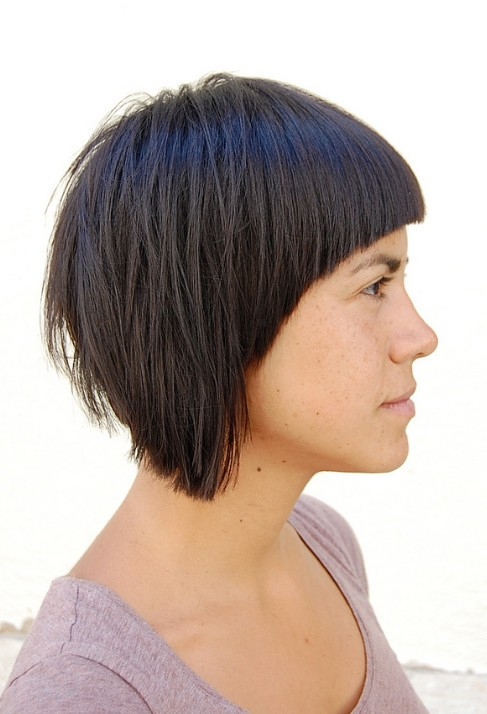 Side View of Trendy Bold Asymmetric Bob Hairstyle