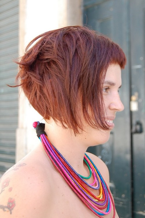 Stylish Short Messy Brown Bob Hairstyle for Women