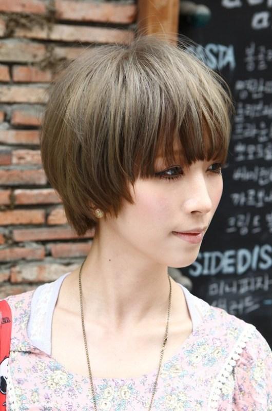 Short Japanese Sleek Hairstyle with Blunt Bangs